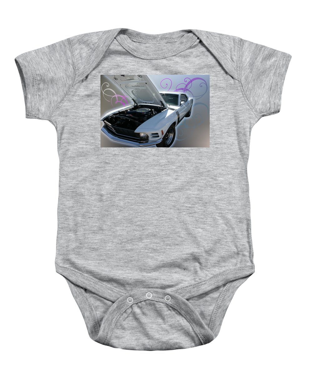 Mustang Baby Onesie featuring the photograph Boss 302 Mustang by Regina Williams