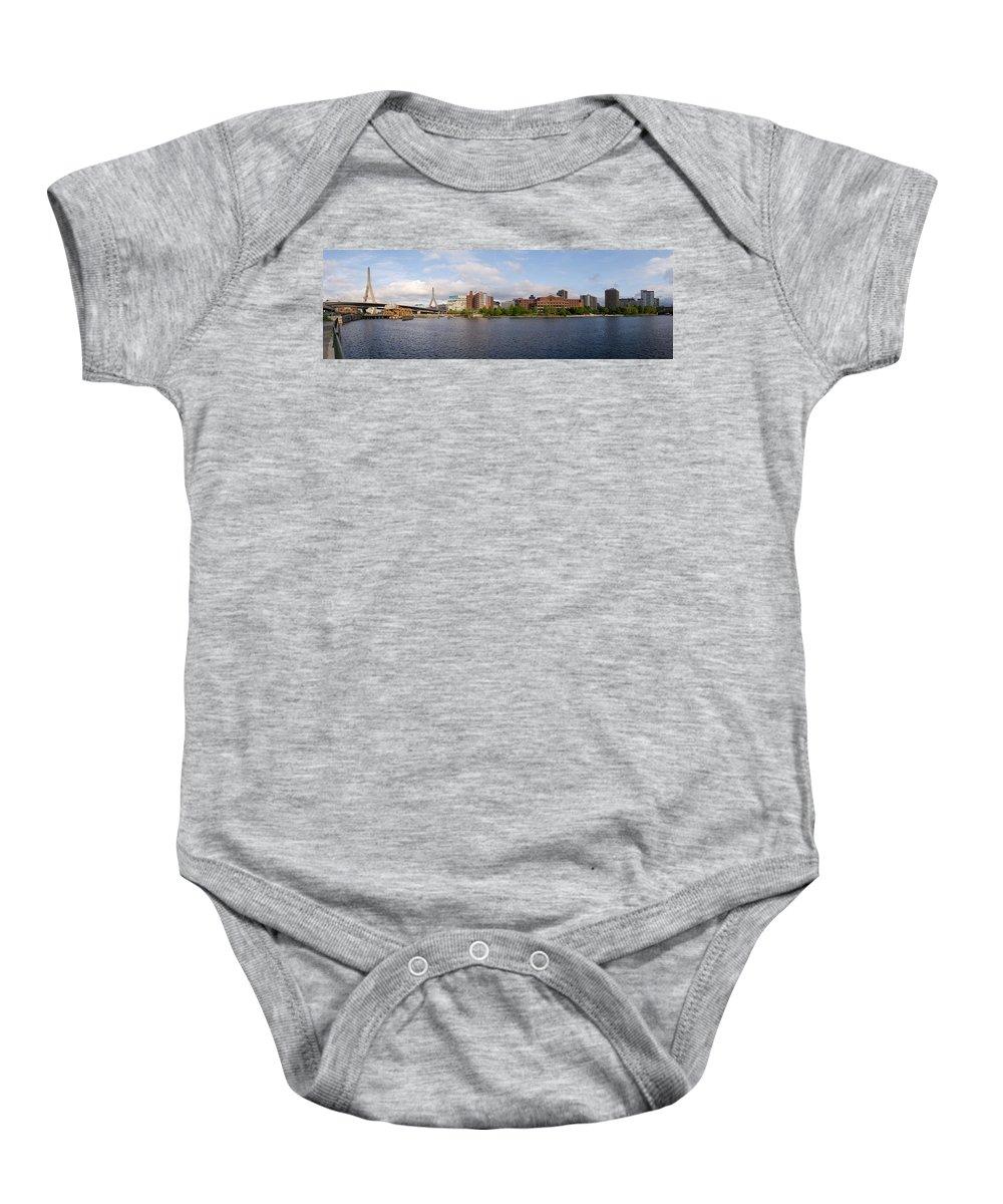 Boston Baby Onesie featuring the photograph Boston - Zakim Bridge by Geoffrey Bolte