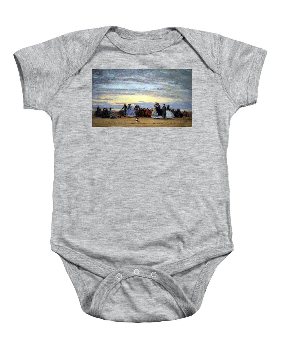 The Beach At Villerville Baby Onesie featuring the photograph Boudin's The Beach At Villerville by Cora Wandel