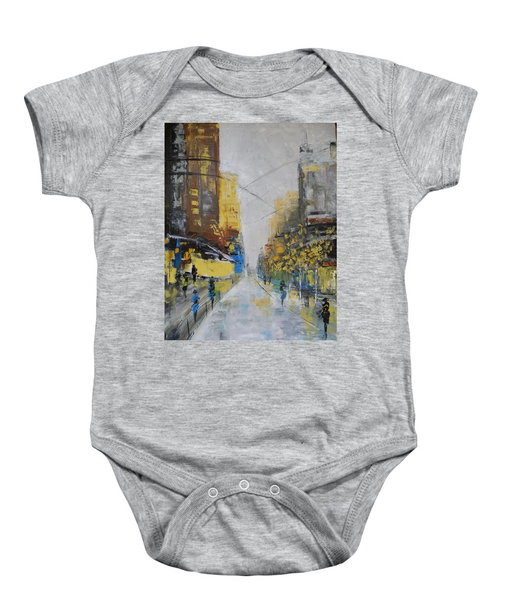 Boulevard Baby Onesie featuring the painting Boulevard by Maria Karalyos