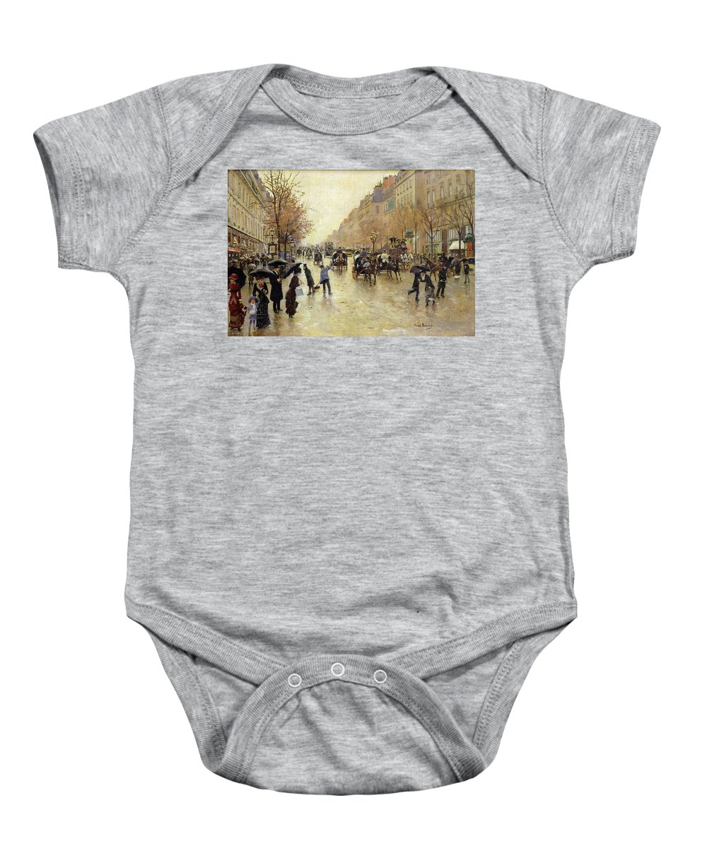 Umbrella Baby Onesie featuring the photograph Boulevard Poissonniere In The Rain, C.1885 Oil On Canvas by Jean Beraud