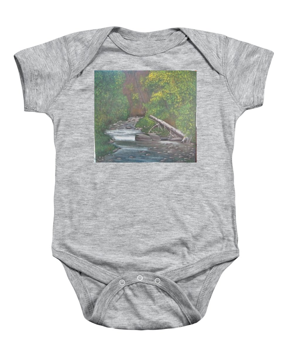 Creek Baby Onesie featuring the painting Boundary Creek Bc by Lorraine Bradford