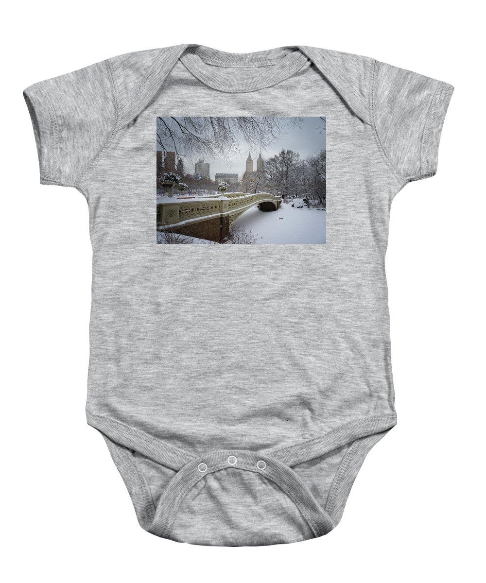 Landscape Baby Onesie featuring the photograph Bow Bridge Central Park In Winter by Vivienne Gucwa