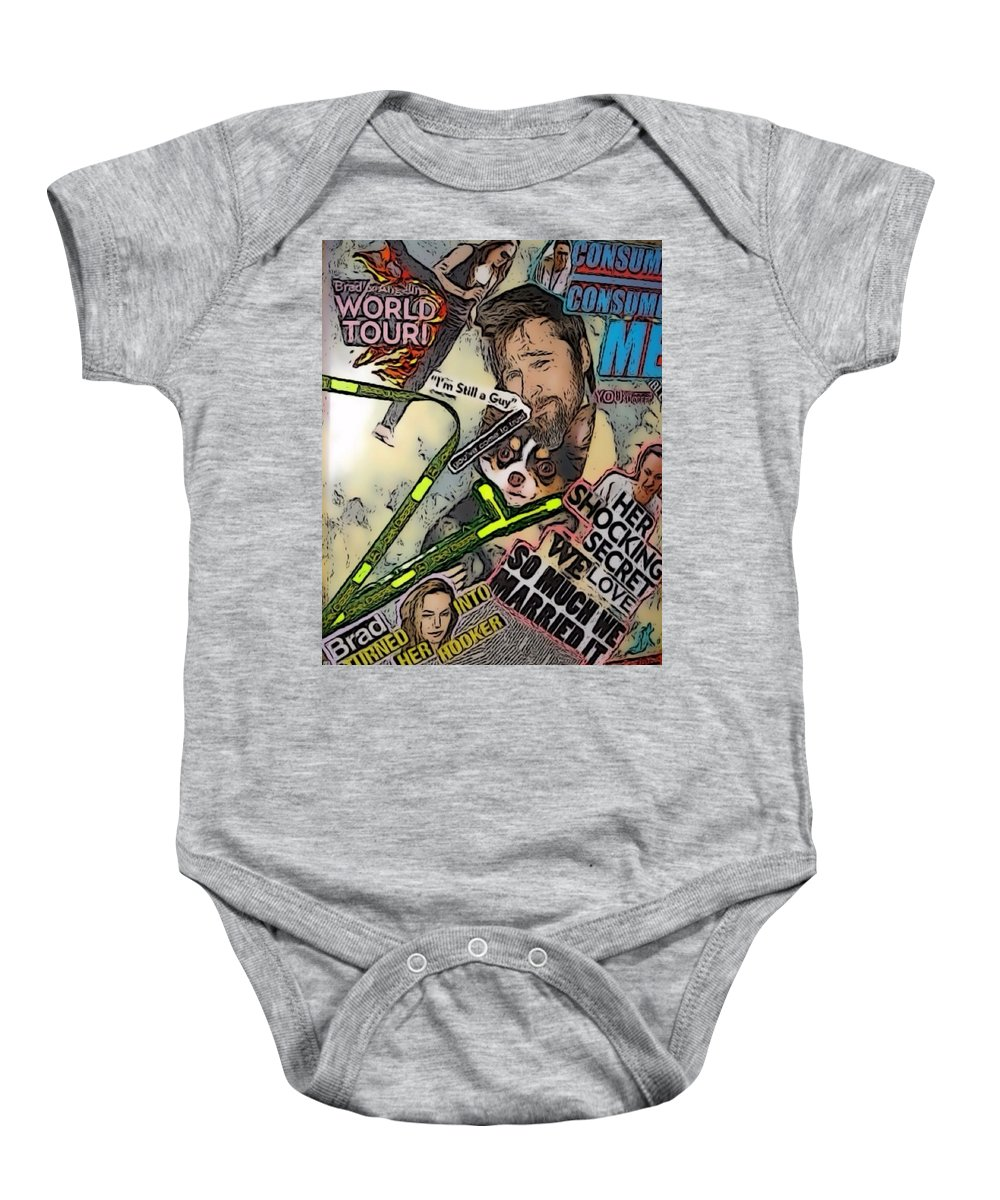 Brad Baby Onesie featuring the digital art Bradgelina Pit by Lisa Piper
