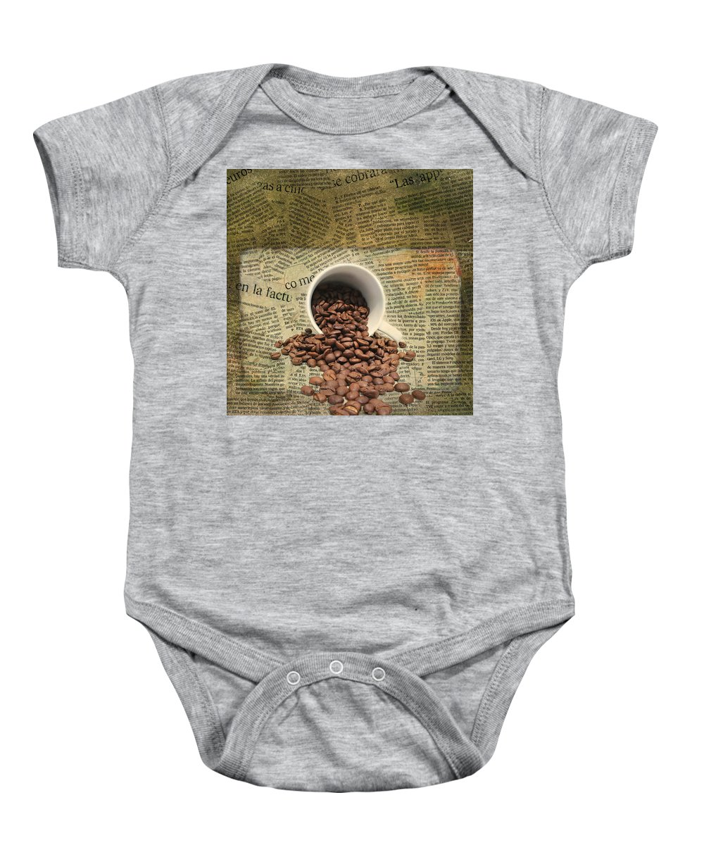 Breakfast Baby Onesie featuring the mixed media Breakfast by Heike Hultsch