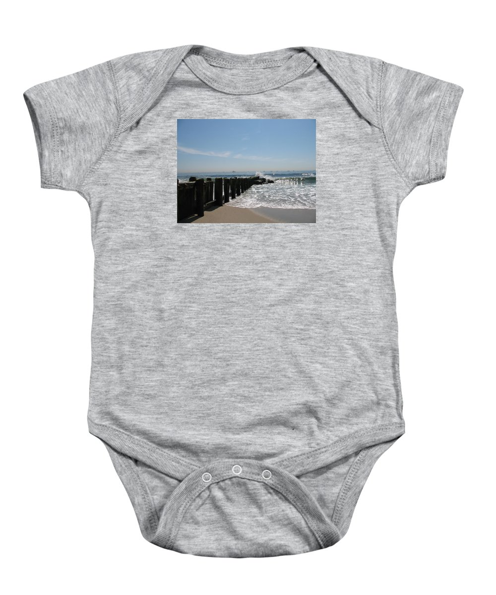 Breakwater Baby Onesie featuring the photograph Breakwater II by Christiane Schulze Art And Photography