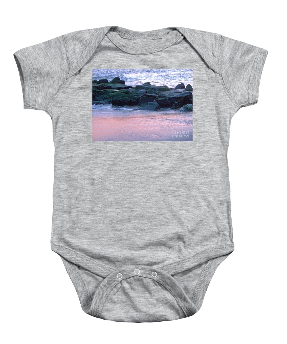 Breakwater Baby Onesie featuring the photograph Breakwater Rocks At Sunset Beach Cape May by Eric Schiabor