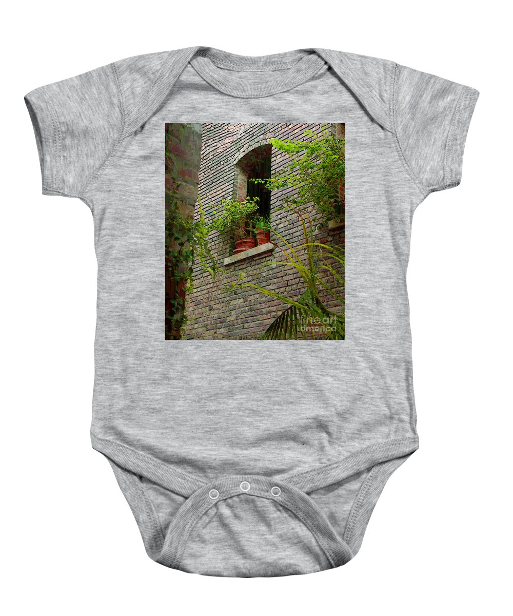 Window Baby Onesie featuring the painting Brick With Greenery by RC DeWinter