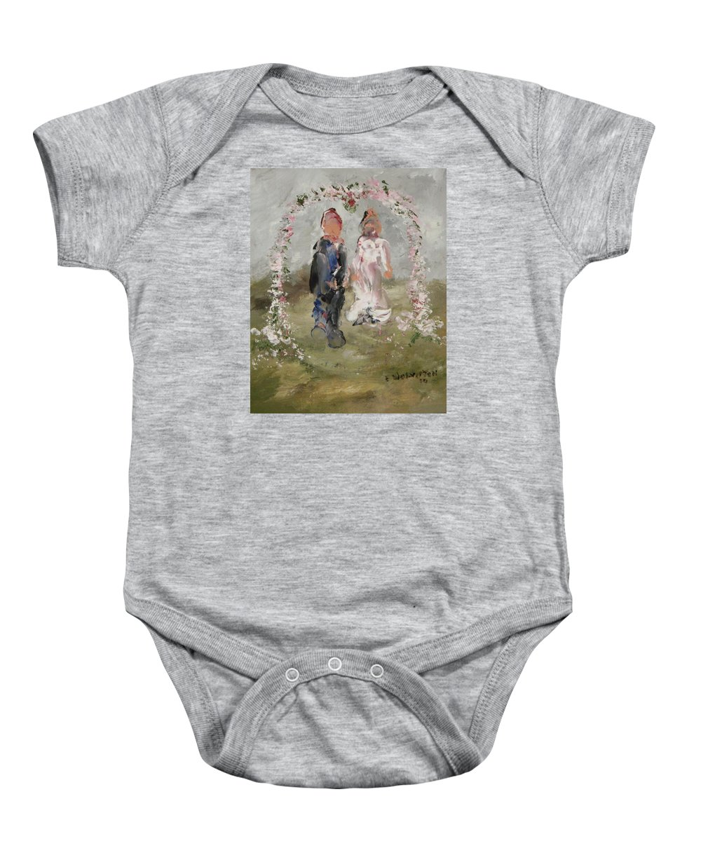 The Wedding Day- Impression Baby Onesie featuring the painting Bride And Groom by Edward Wolverton