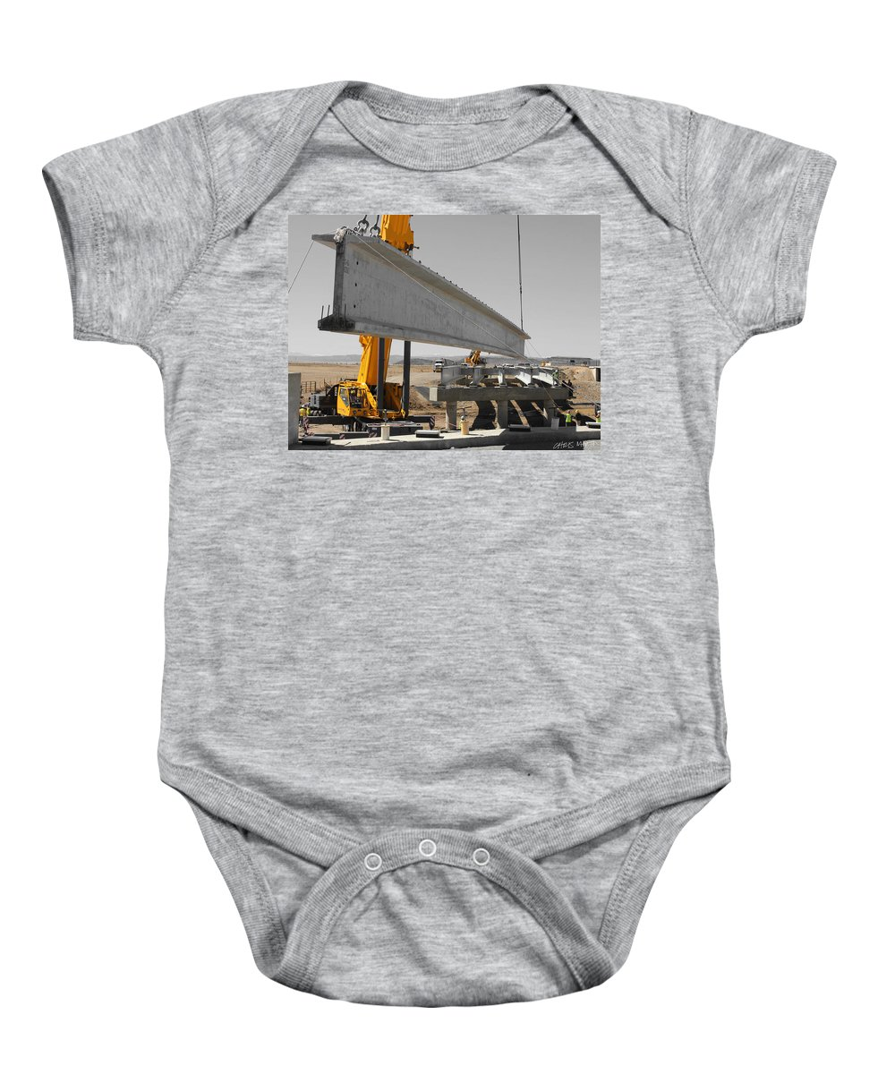 Construction Baby Onesie featuring the photograph Bridge Building Bw by Chris Martin