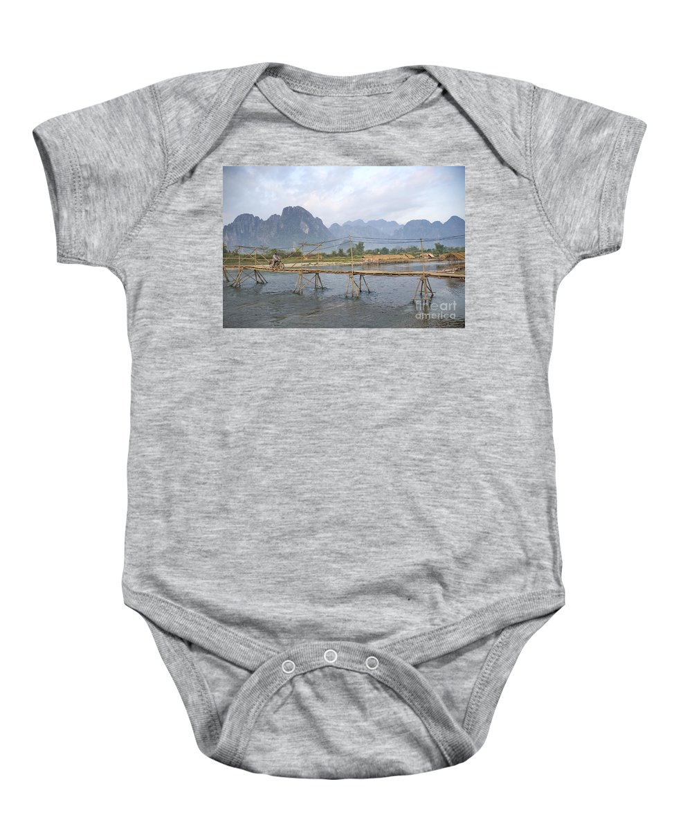 Bamboo Baby Onesie featuring the photograph Bridge In Vang Vieng Laos by Jacek Malipan