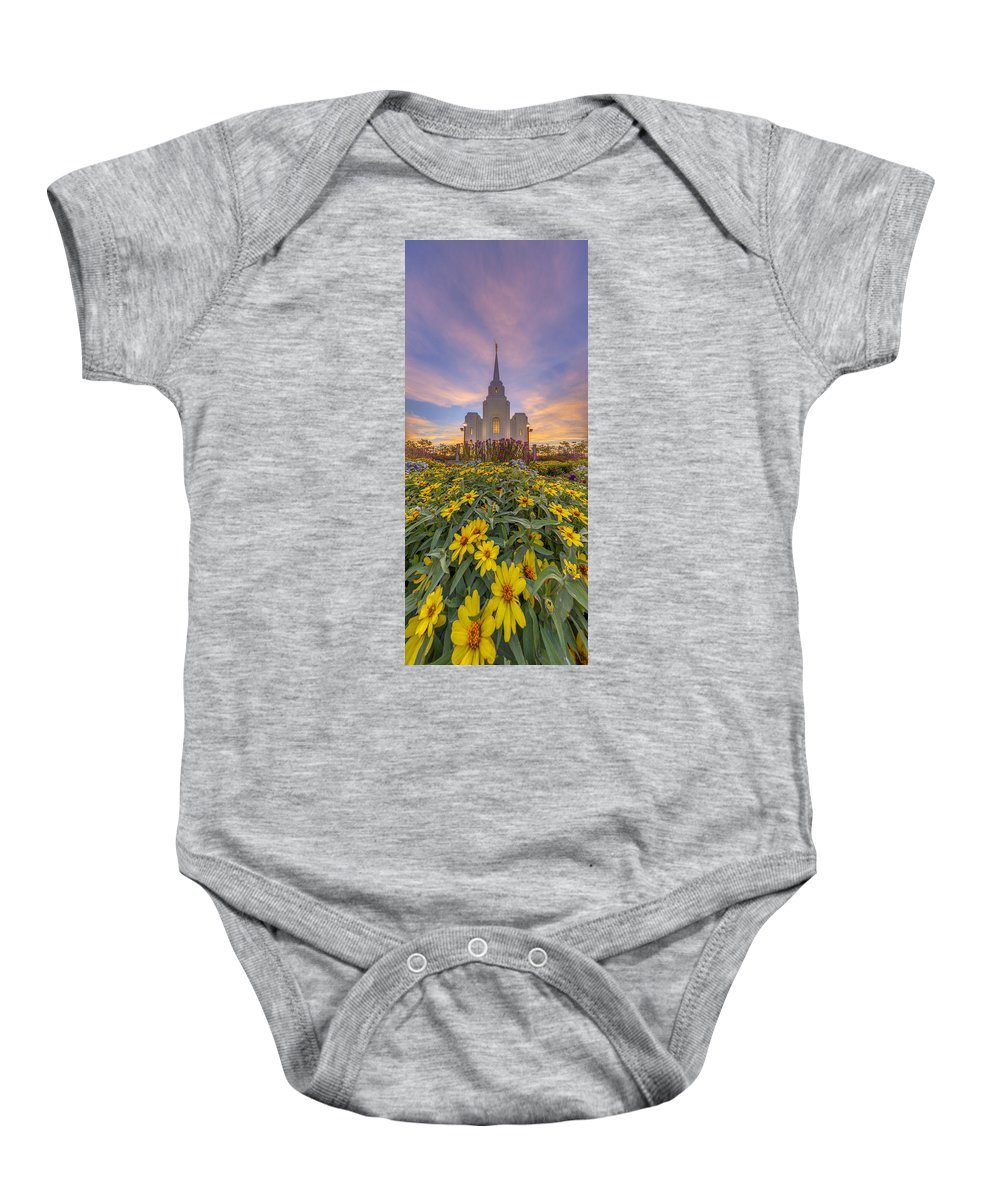 Utah Baby Onesie featuring the photograph Brigham City Temple Vertical Panorama by Dustin LeFevre