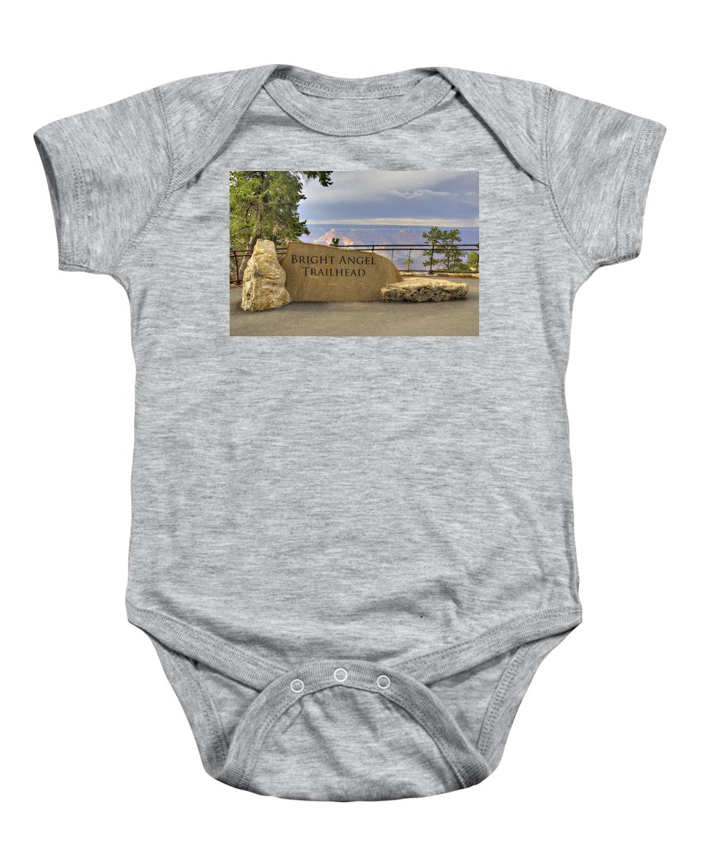 Bright Baby Onesie featuring the photograph Bright Angel Trailhead by Ricky Barnard