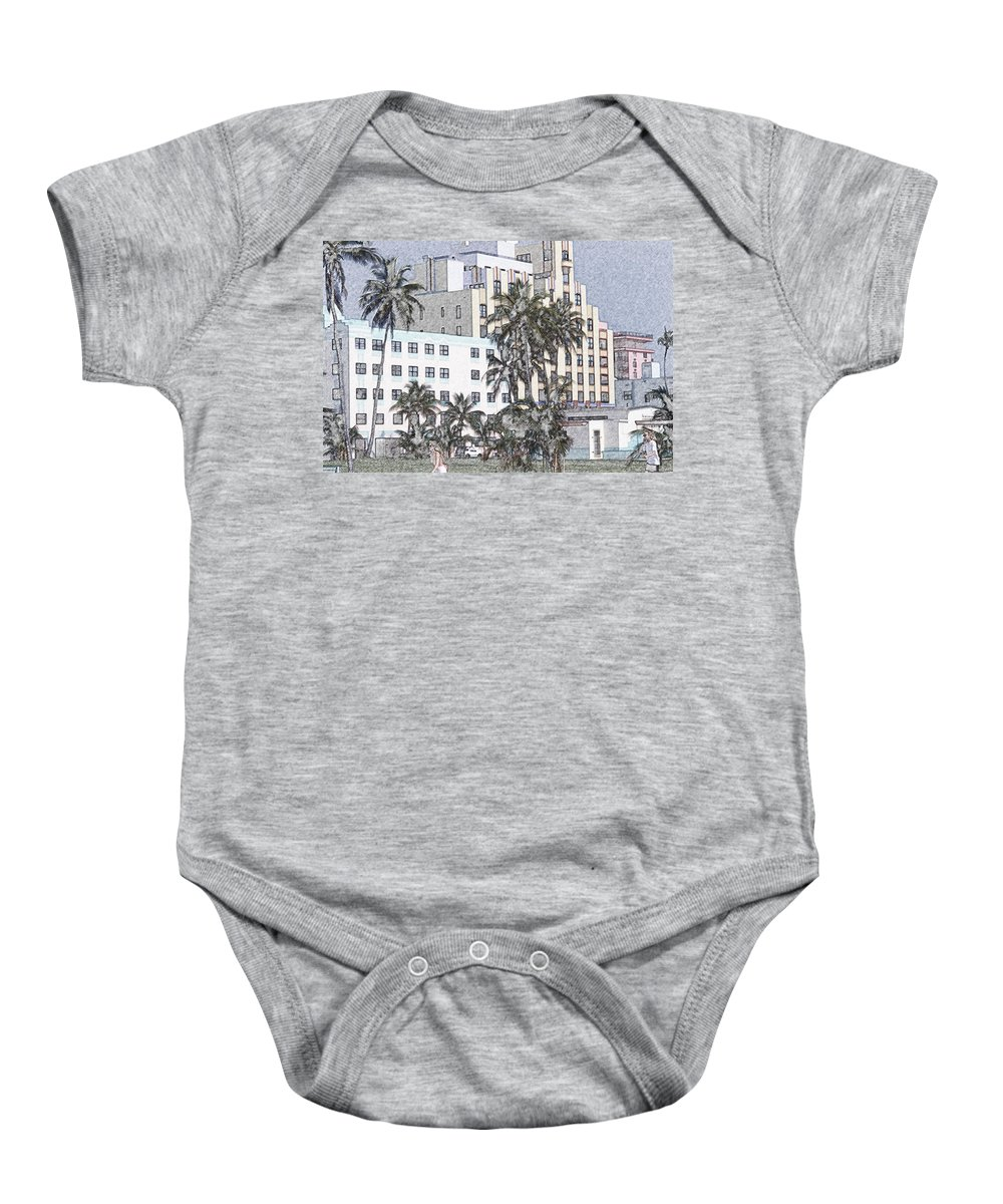 Art Deco Baby Onesie featuring the photograph Bright Light Miami Beach by Tom Wurl