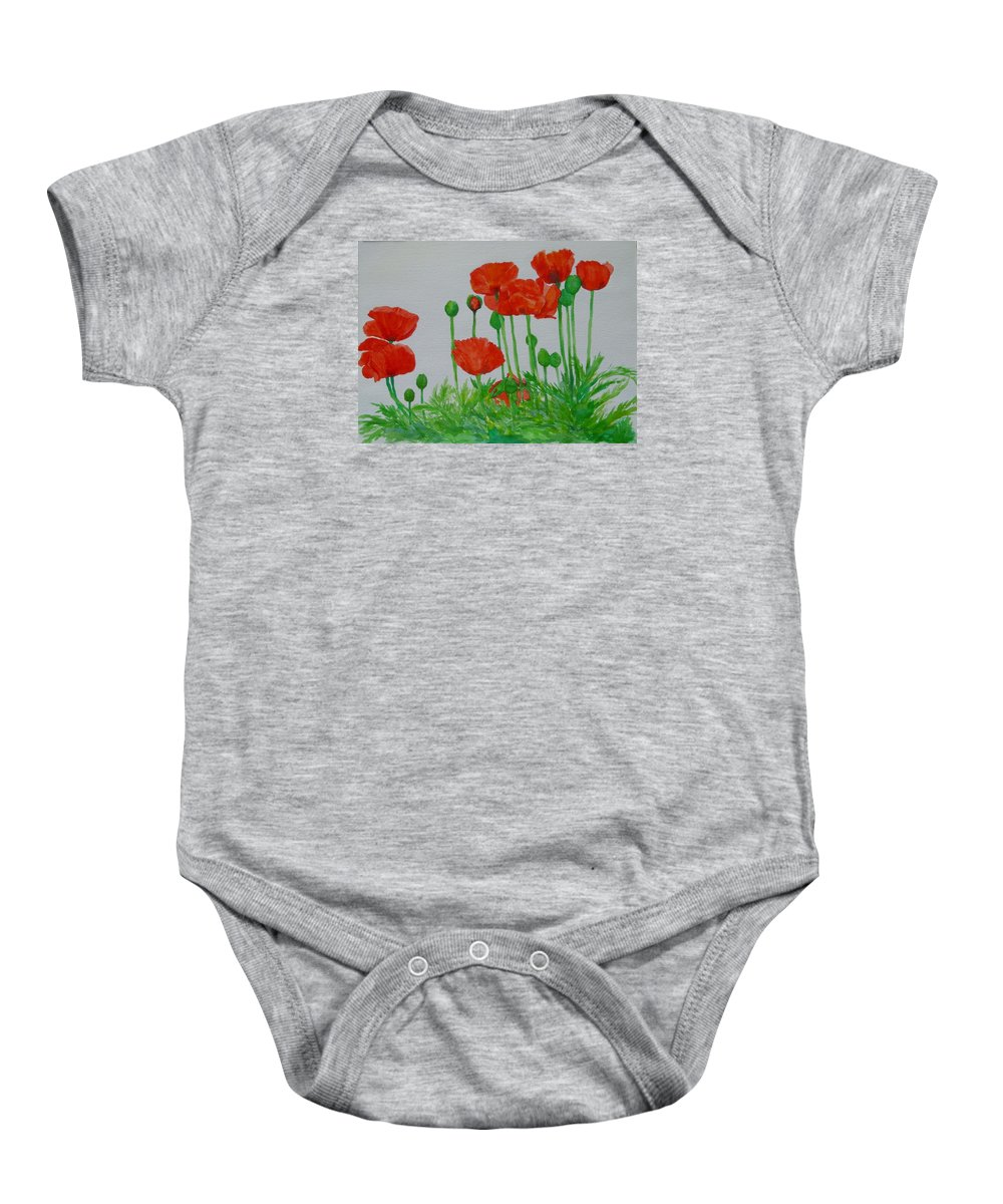 Red Poppies Baby Onesie featuring the painting Red Poppies Colorful Flowers Original Art Painting Floral Garden Decor Artist K Joann Russell by K Joann Russell