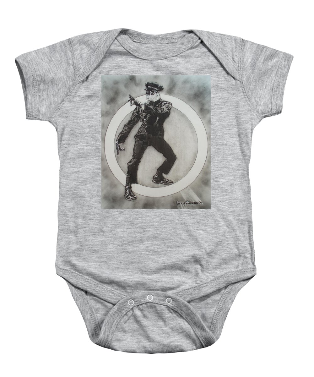 Asian Baby Onesie featuring the drawing Bruce Lee Is Kato 3 by Sean Connolly