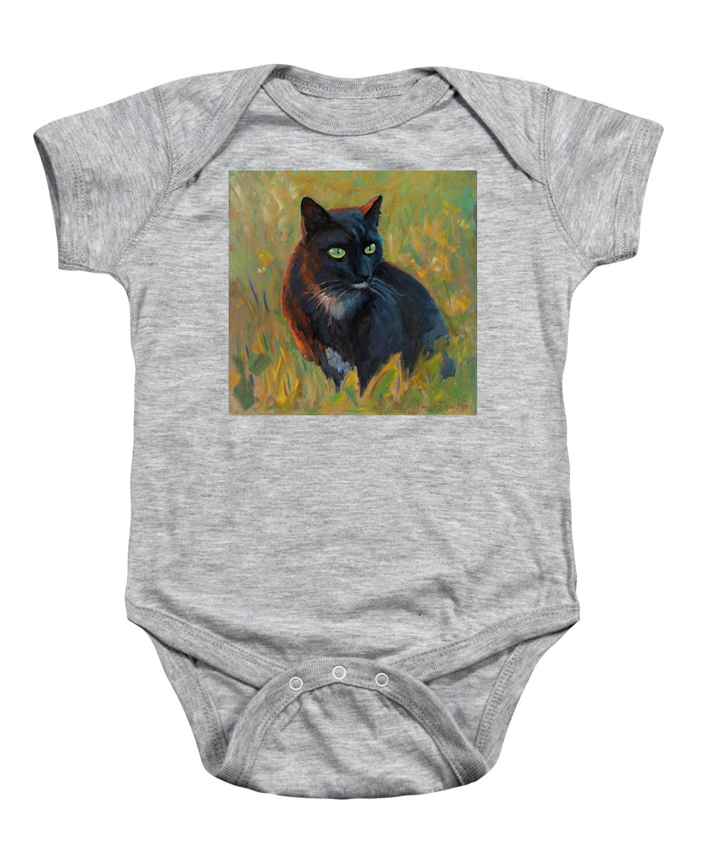 Cat Black Pet Grass Sunset Light Feline Sharp Look Baby Onesie featuring the painting Bubu In The Sunset by Marco Busoni
