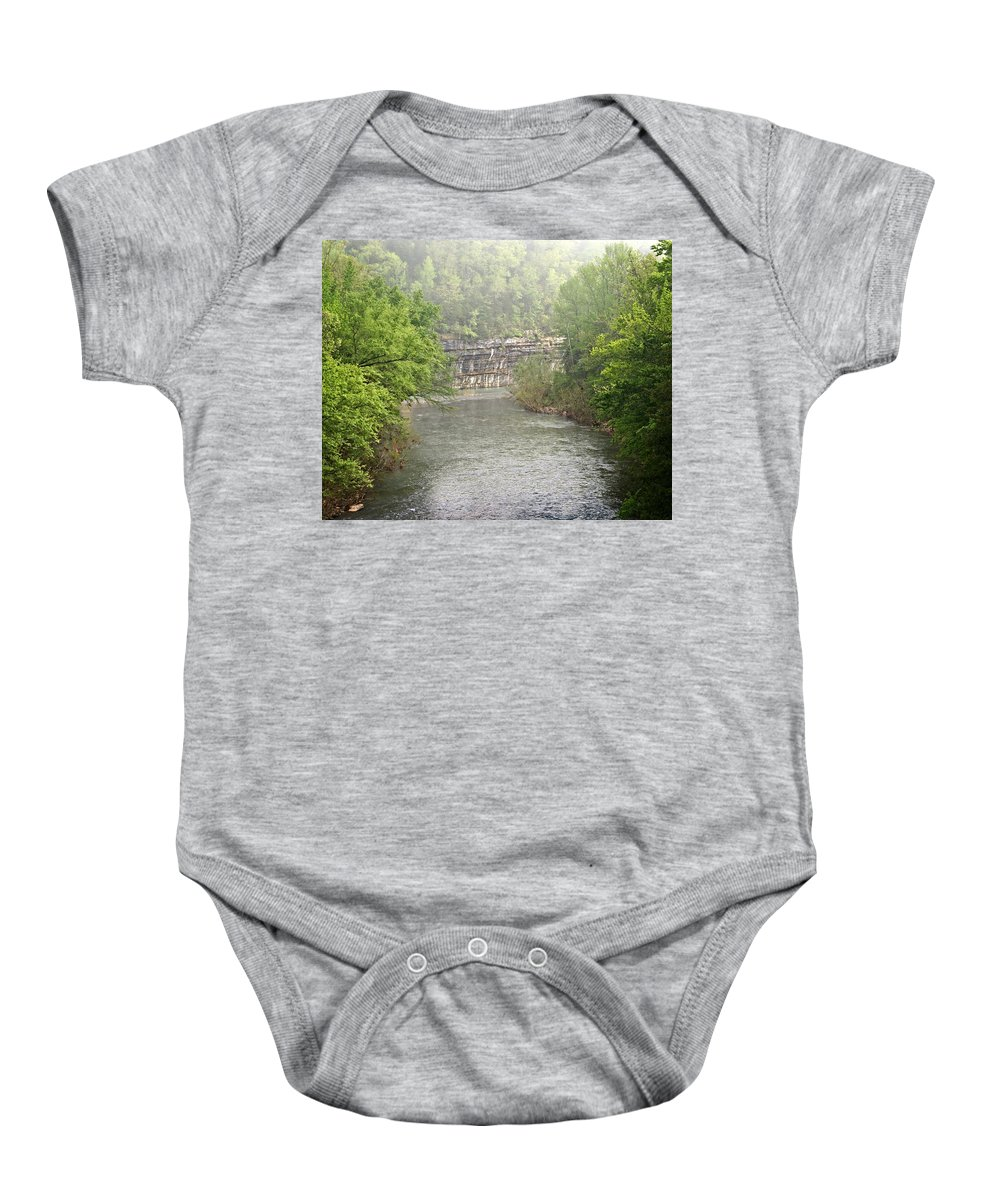Buffalo National River Baby Onesie featuring the photograph Buffalo River Mist Horizontal by Marty Koch