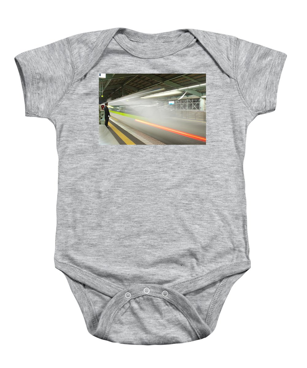 Shinkansen Baby Onesie featuring the photograph Bullet Train by Sebastian Musial