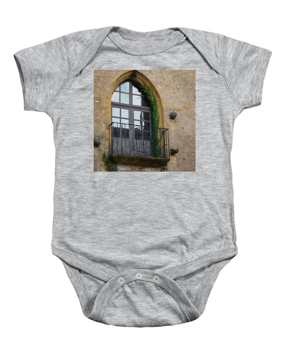 France Baby Onesie featuring the photograph Burgundy Window by Cheryl Miller