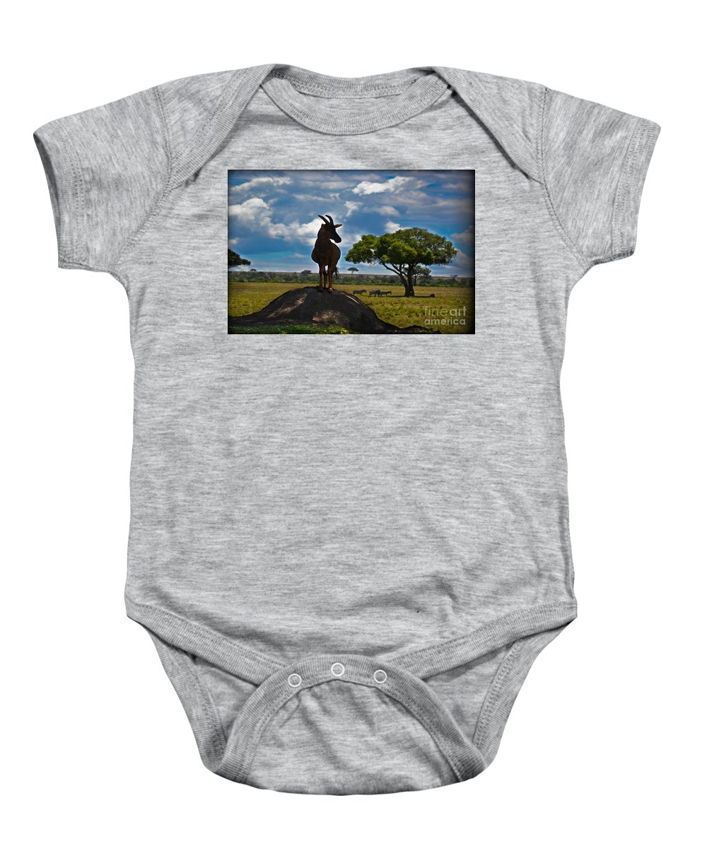 Bushbuck Baby Onesie featuring the photograph Bushbuck Guard Of The Mound  by Gary Keesler