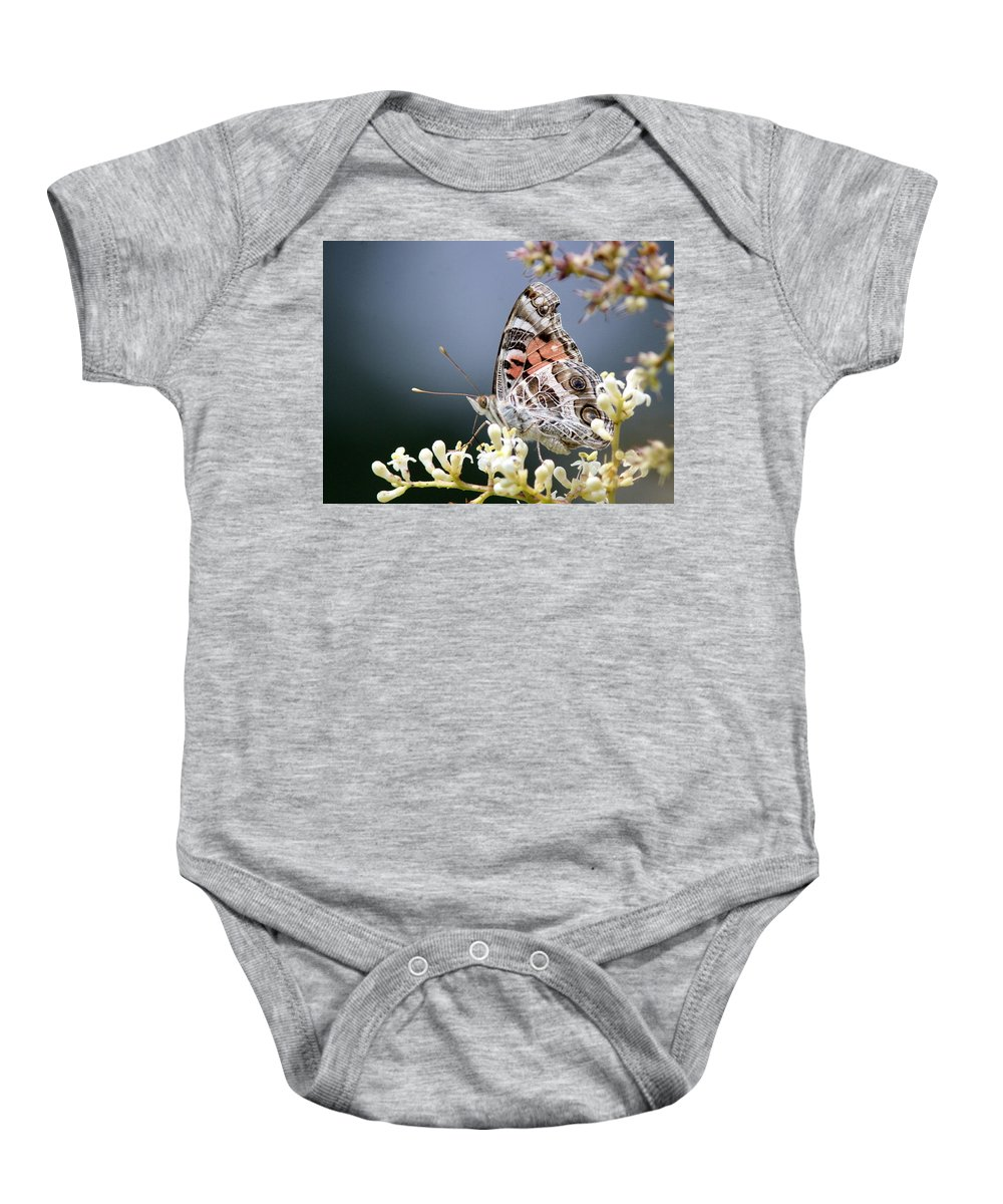 Lady Baby Onesie featuring the photograph Butterfly - Painted Lady - Tasty Out Here by Travis Truelove