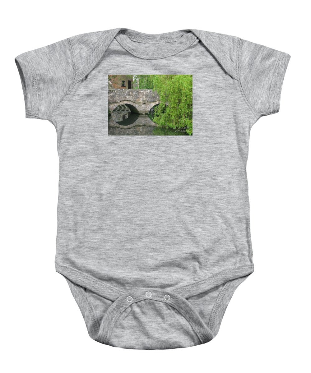 England Baby Onesie featuring the photograph By The Old Mill Stream by Ann Horn