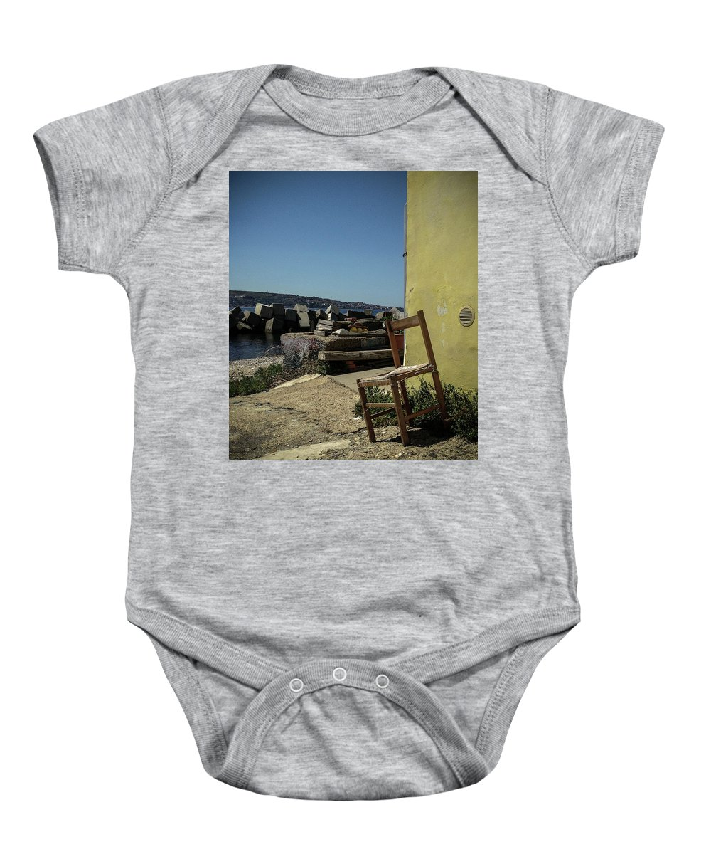 Chair Baby Onesie featuring the photograph By The Sea by Michele Mule