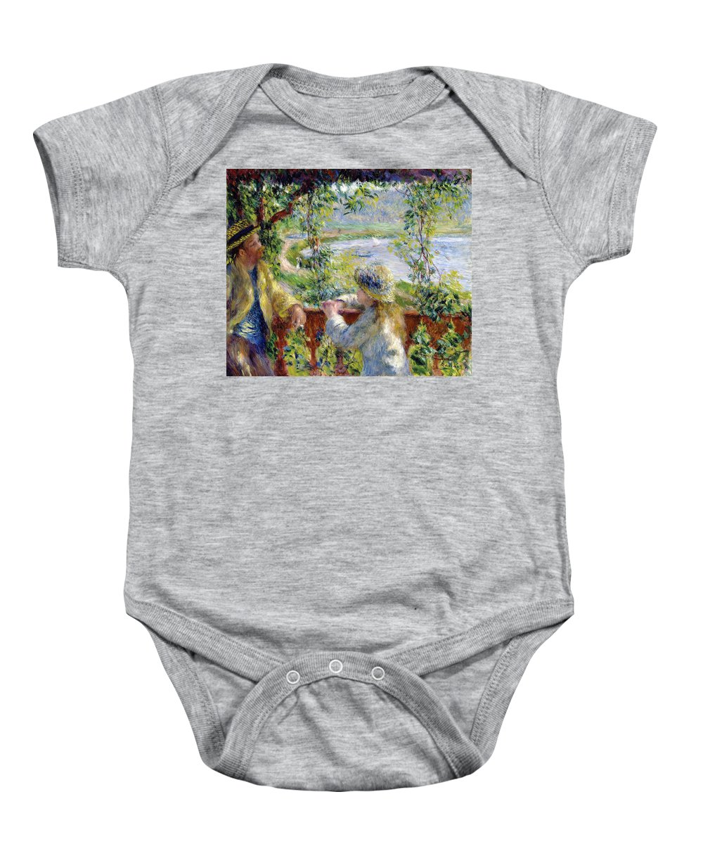 By The Water Baby Onesie featuring the digital art By The Water by Pierre Auguste Renoir