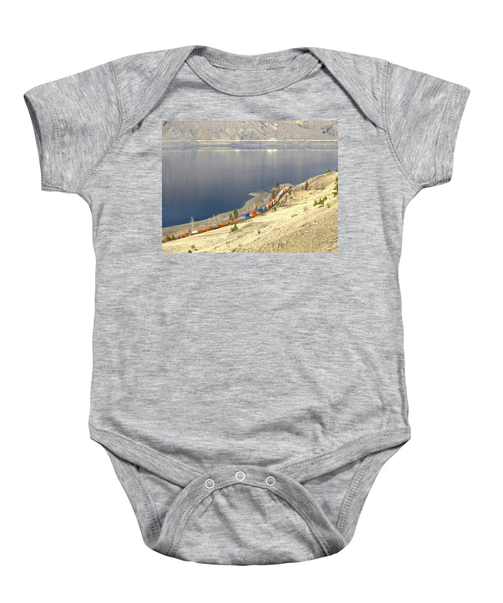 Cpr And Cnr Freight Trains Baby Onesie featuring the photograph C P R And C N R Freight Trains by Will Borden