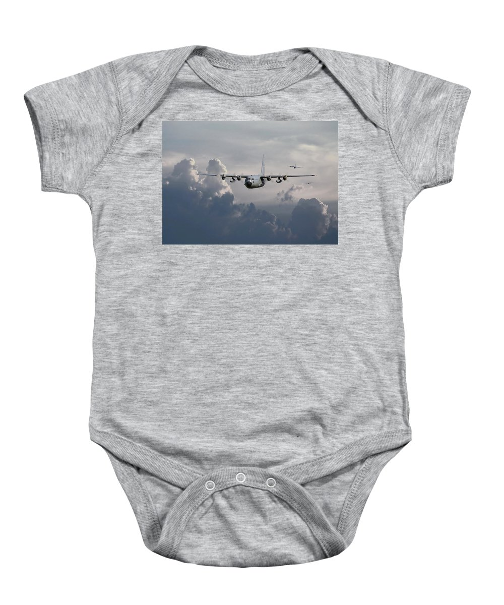 Aircraft Baby Onesie featuring the digital art C130 Hecules  In Trail by Pat Speirs
