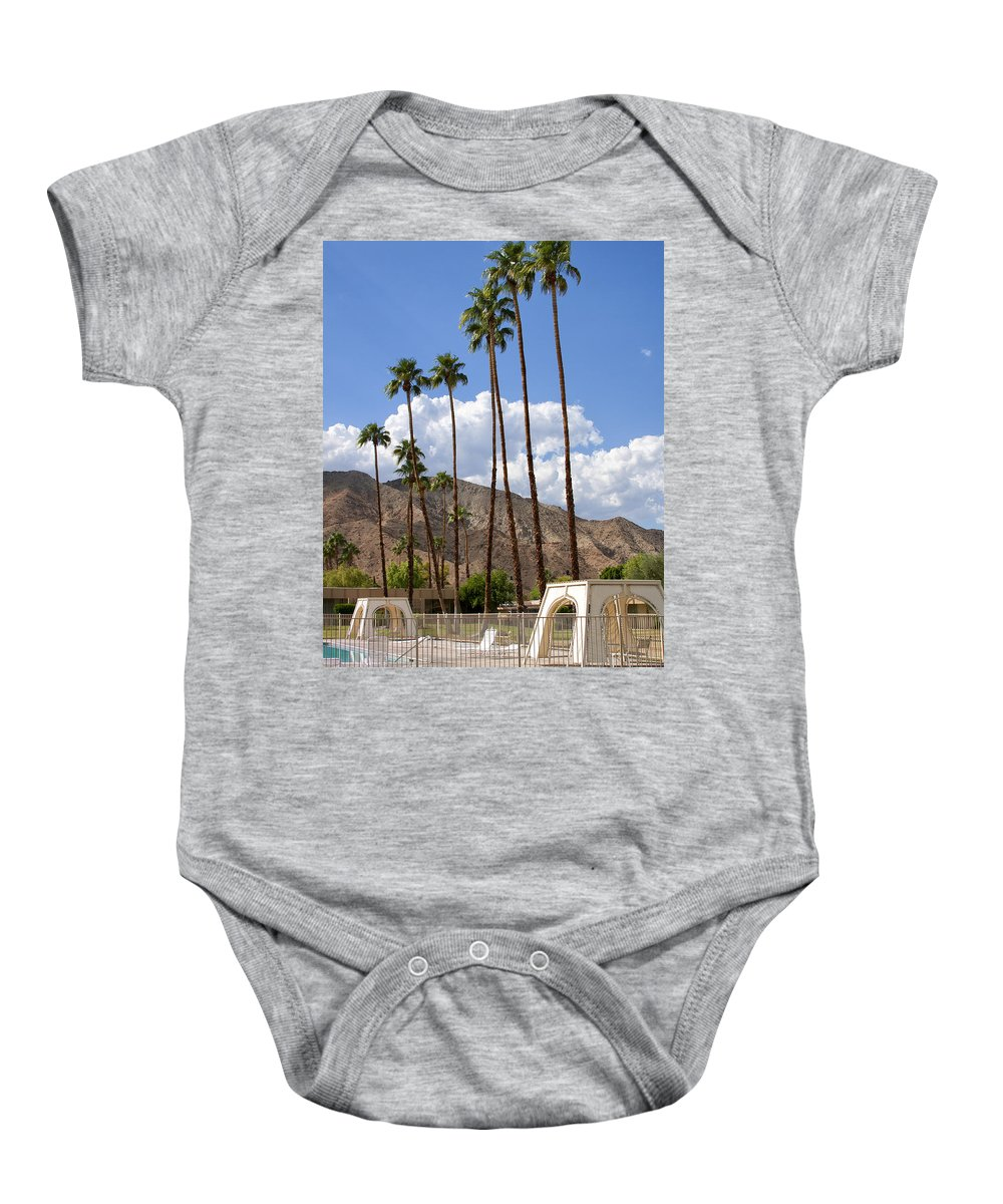 Cabanas Baby Onesie featuring the photograph Cabanas Palm Springs by William Dey