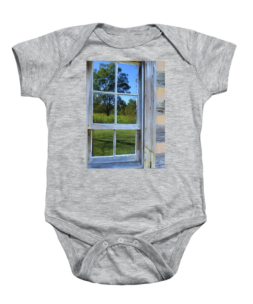 Cabin Photos Baby Onesie featuring the photograph Cabin Reflections by Larry Bishop