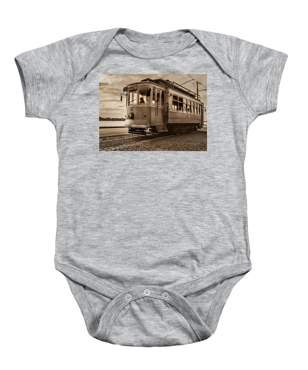 Cable Baby Onesie featuring the photograph Cable Car In Porto Portugal by Ernesto Santos