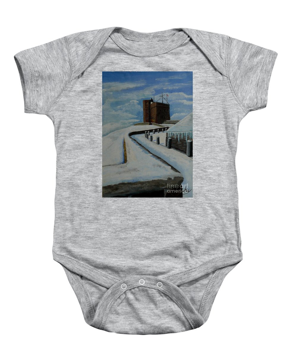 Landscape Baby Onesie featuring the painting Cabot Tower Newfoundland by Anthony Dunphy