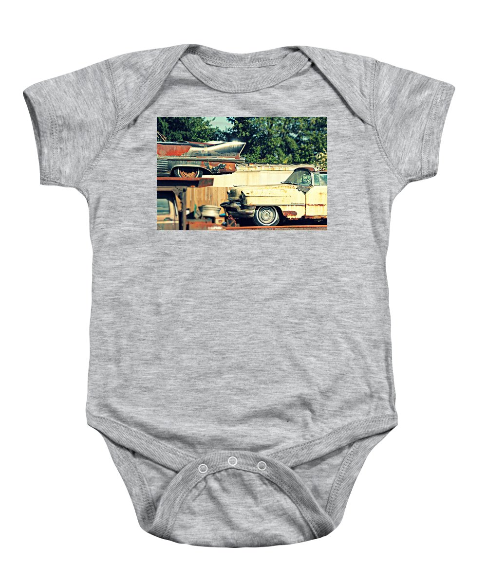 Cadillac Baby Onesie featuring the photograph Cadillacs In Decay by Steve Natale