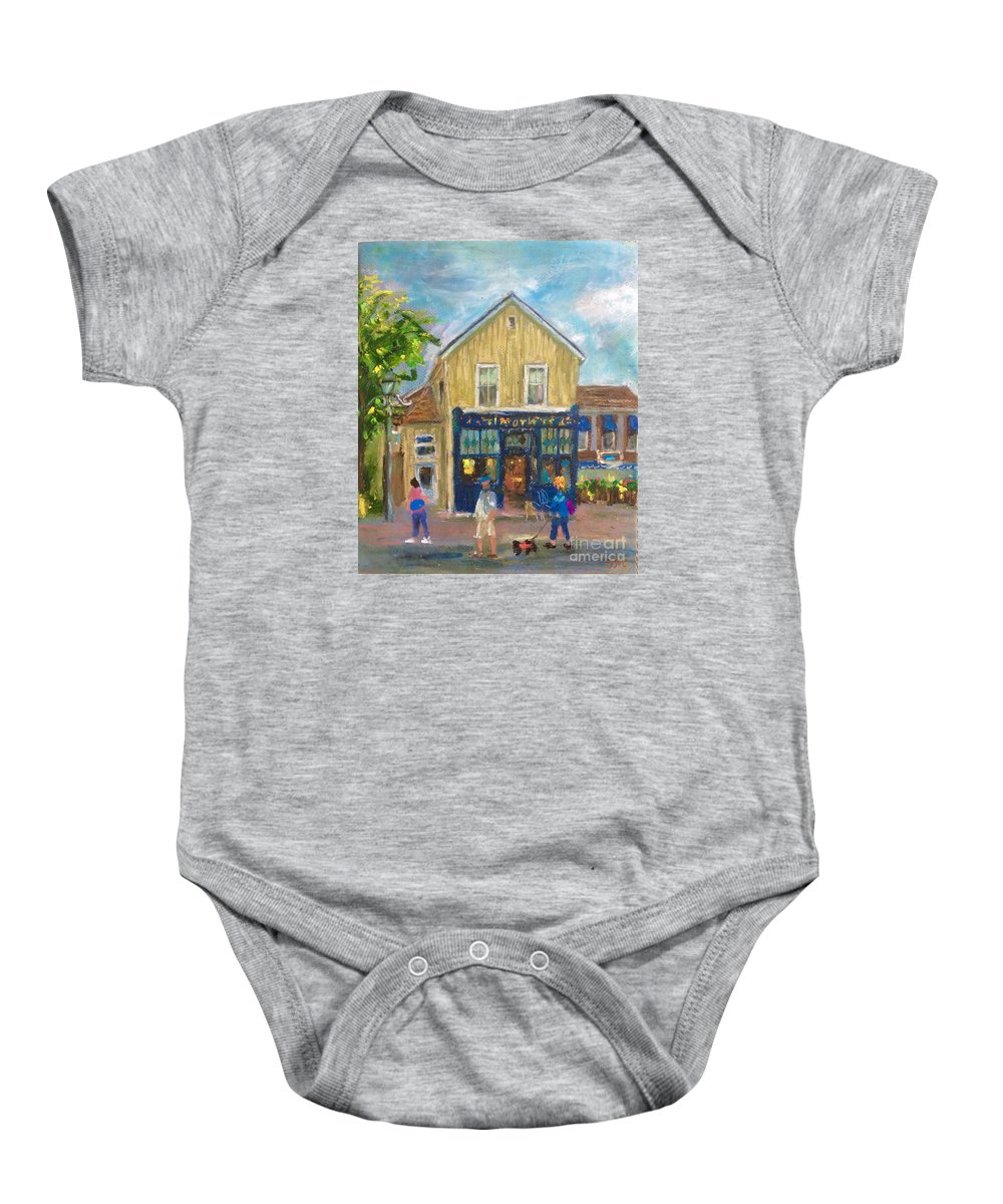 Cafes Baby Onesie featuring the painting Cafes by Jieming Wang