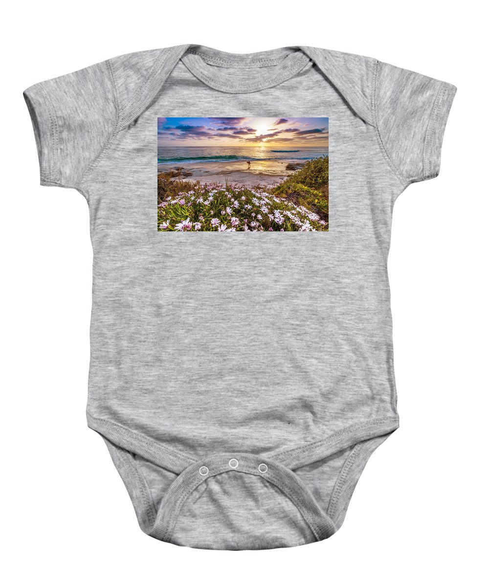 Windansea Baby Onesie featuring the photograph California Dreamin' by Justin Lowery