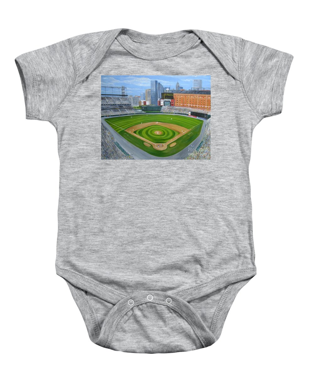 Camden Yards Baby Onesie featuring the painting Camden Yards by Laura Corebello