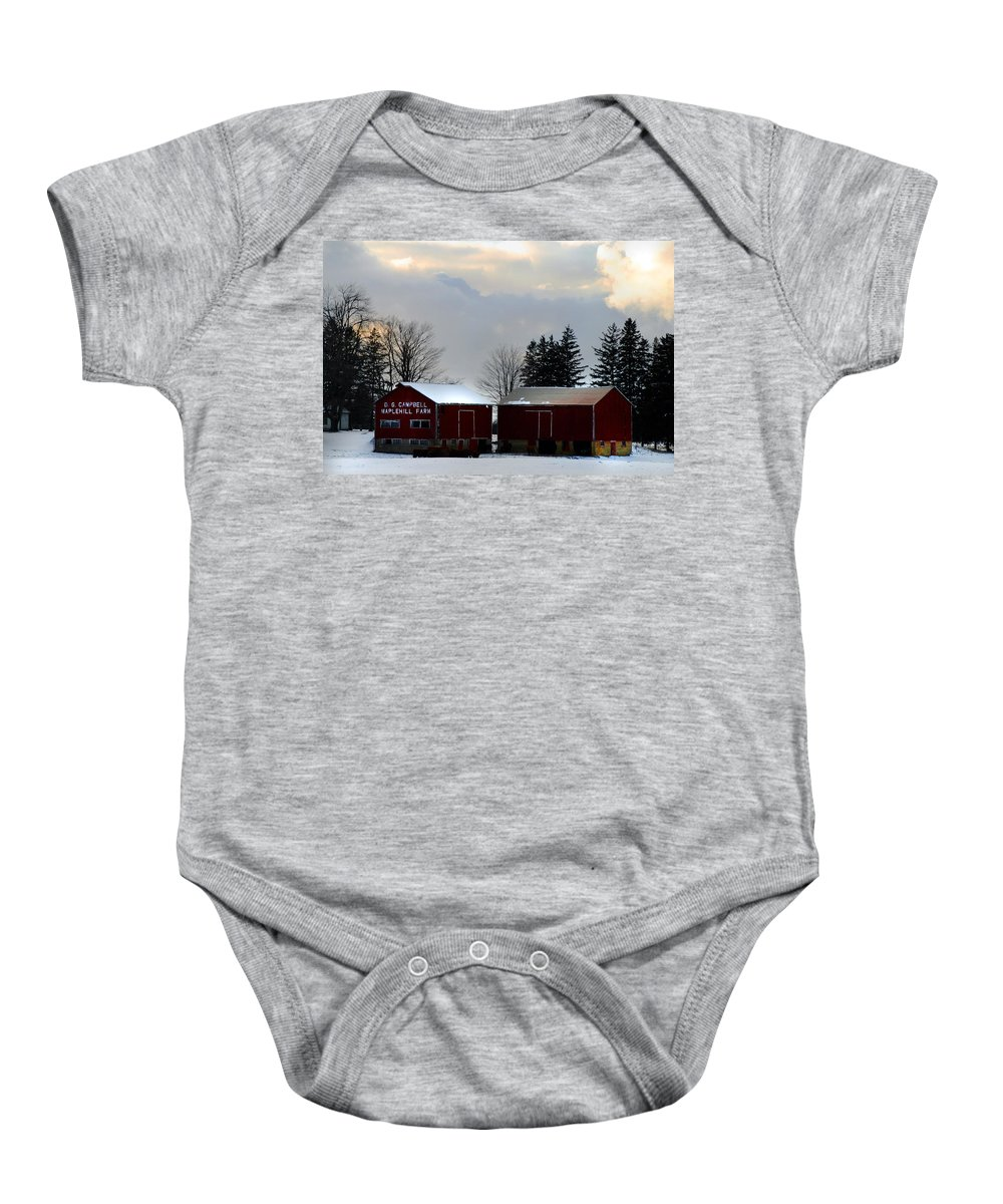 Canada Baby Onesie featuring the photograph Canadian Snowy Farm by Anthony Jones