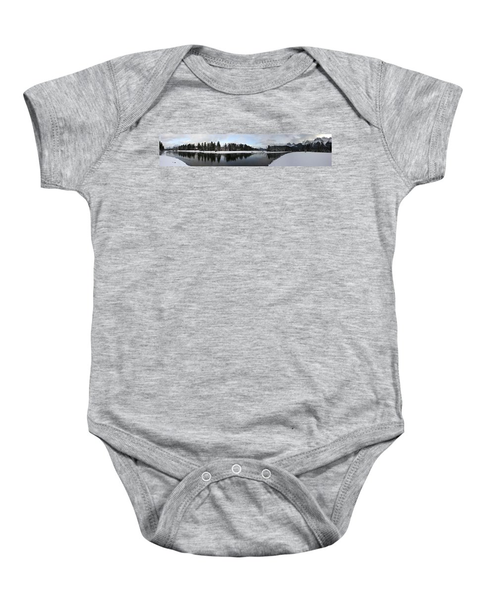 Panorama Baby Onesie featuring the photograph Winter Mountain Calm - Canmore, Alberta by Ian Mcadie