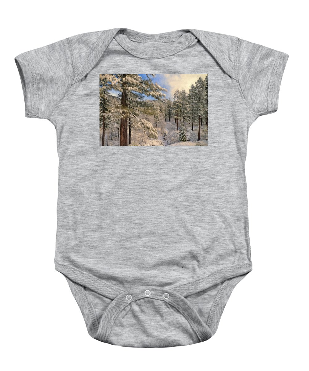 Alpine Baby Onesie featuring the photograph Lifting Cloud by Maria Coulson
