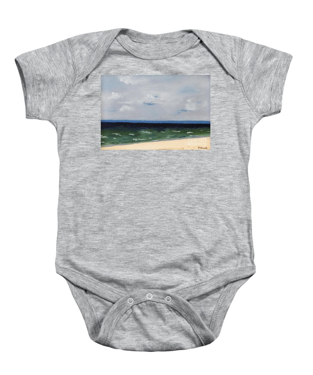 Cape Cod Baby Onesie featuring the painting Cape Cod White Caps At Chapoquoit Beach by Patrick Mancini