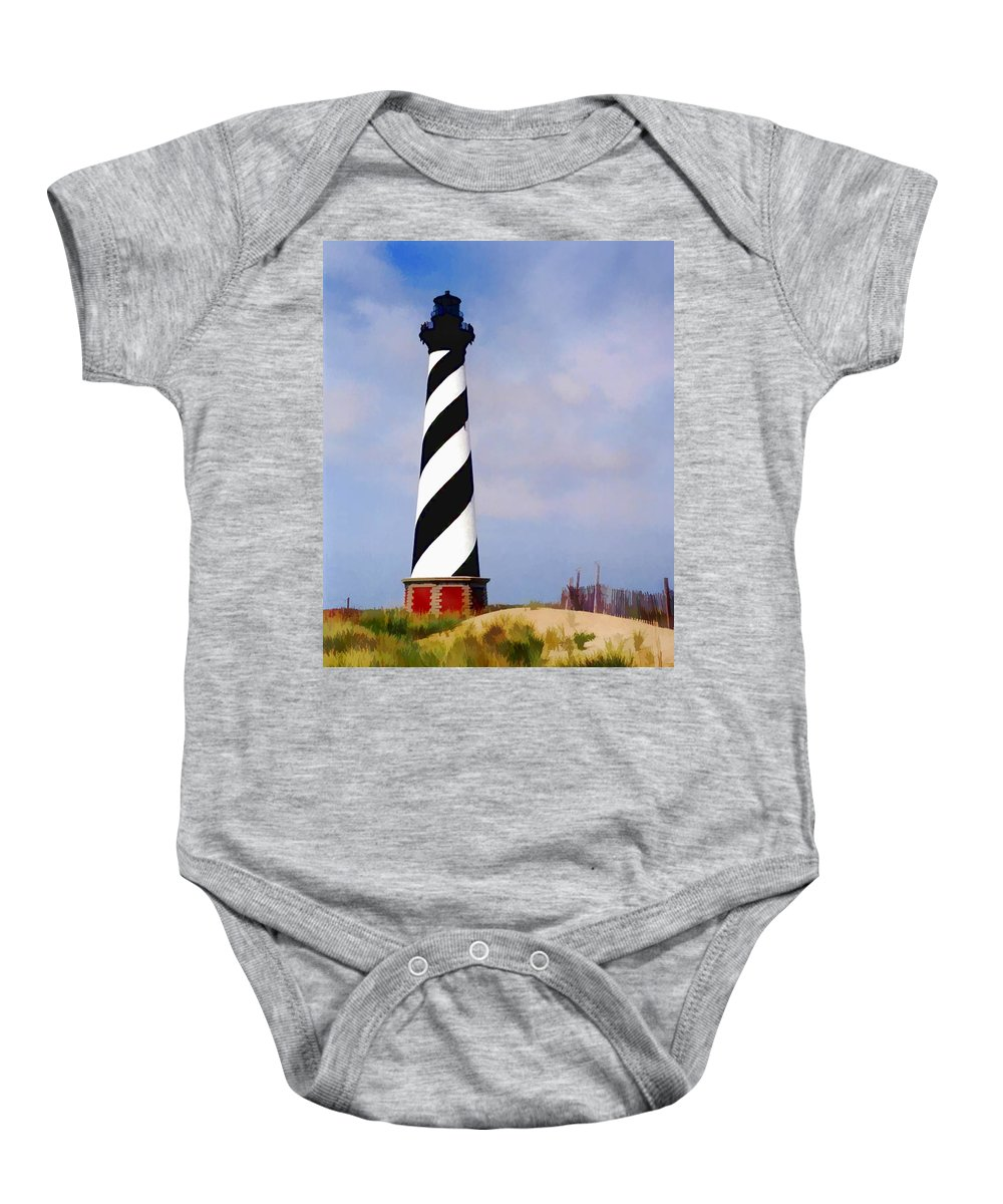 Ocean Baby Onesie featuring the painting Cape Hatteras Lighthouse by Elaine Plesser
