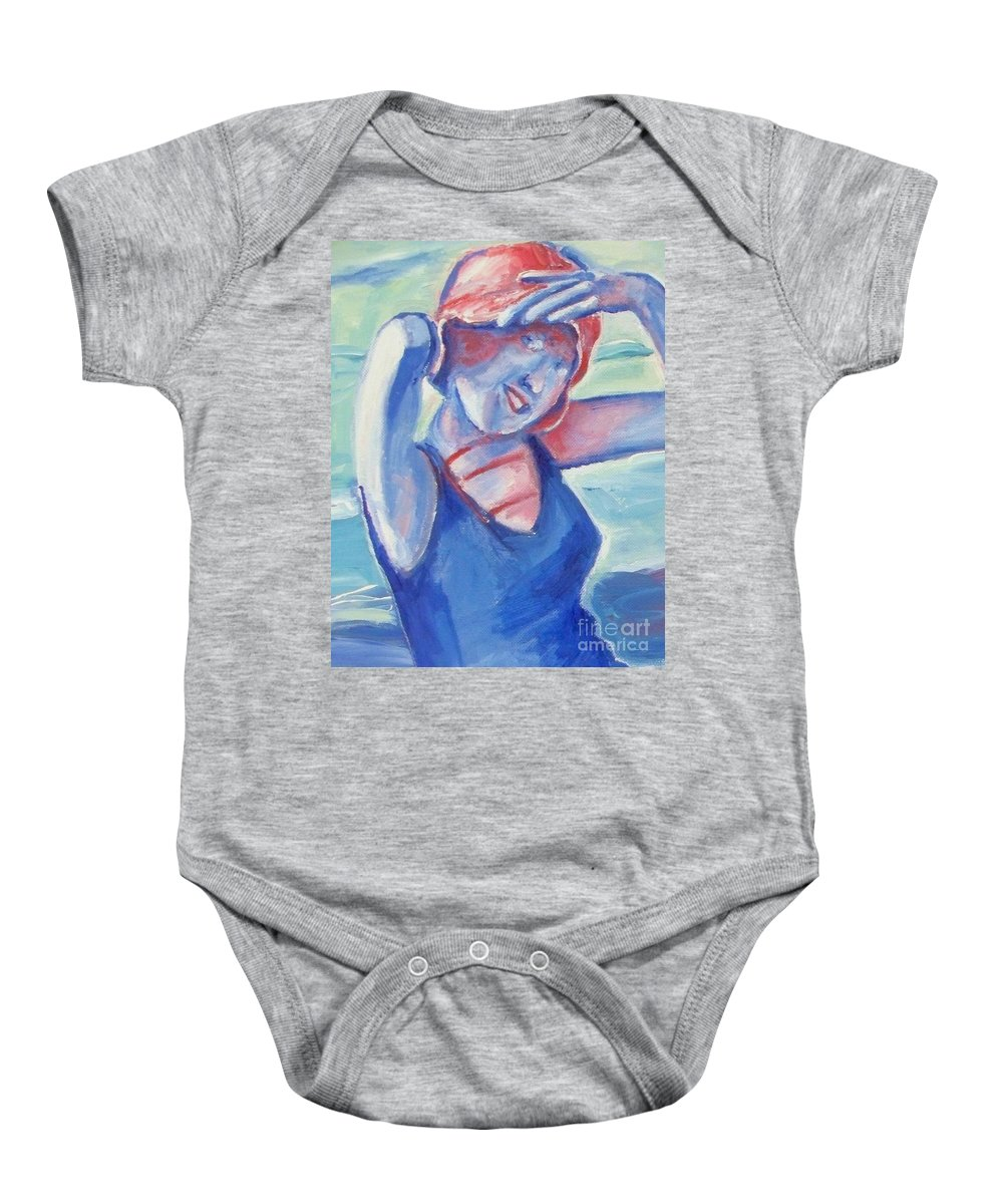 1920s Baby Onesie featuring the painting Cape May1920s Bathing Beauty by Eric Schiabor