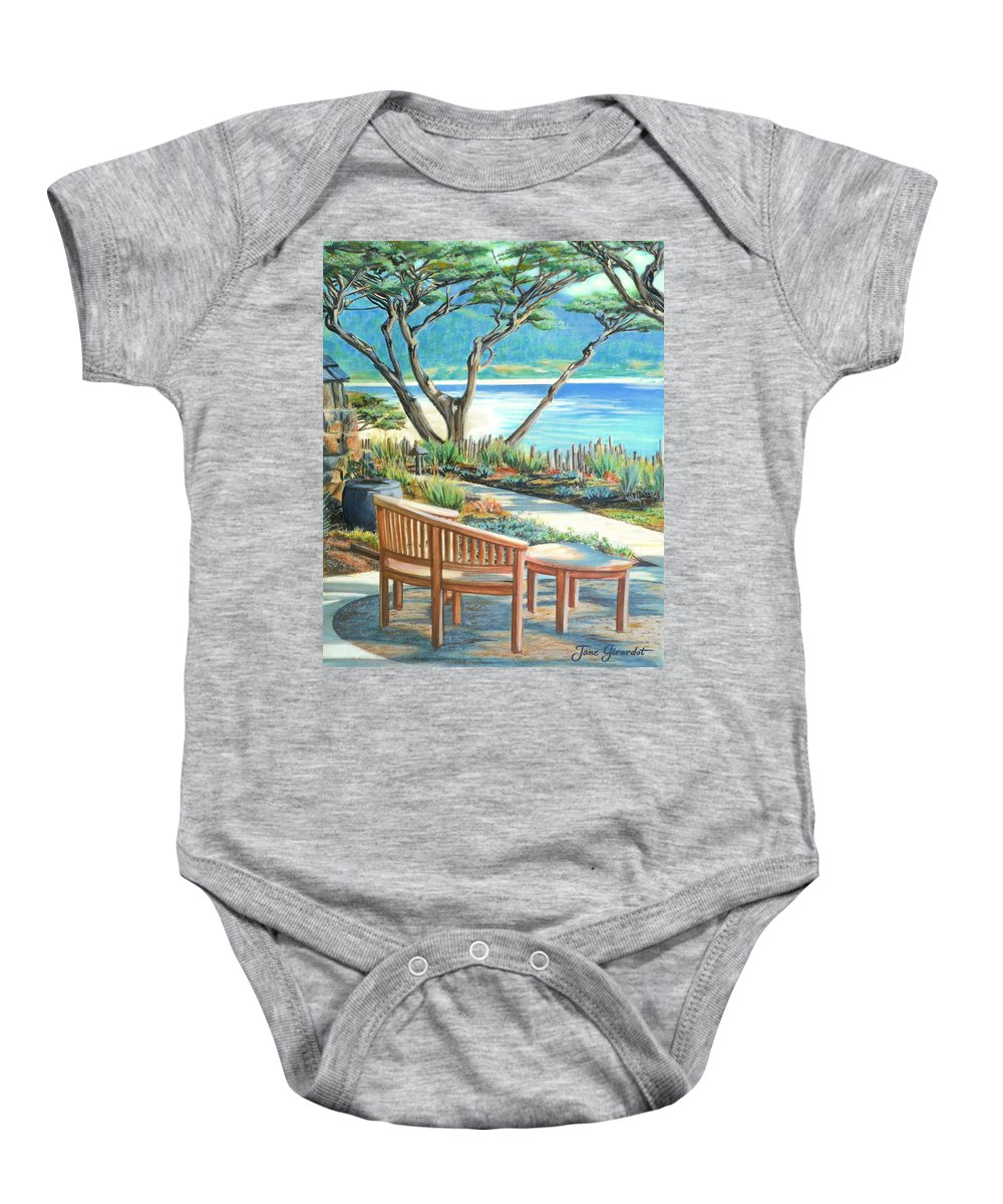 Carmel Baby Onesie featuring the painting Carmel Lagoon View by Jane Girardot