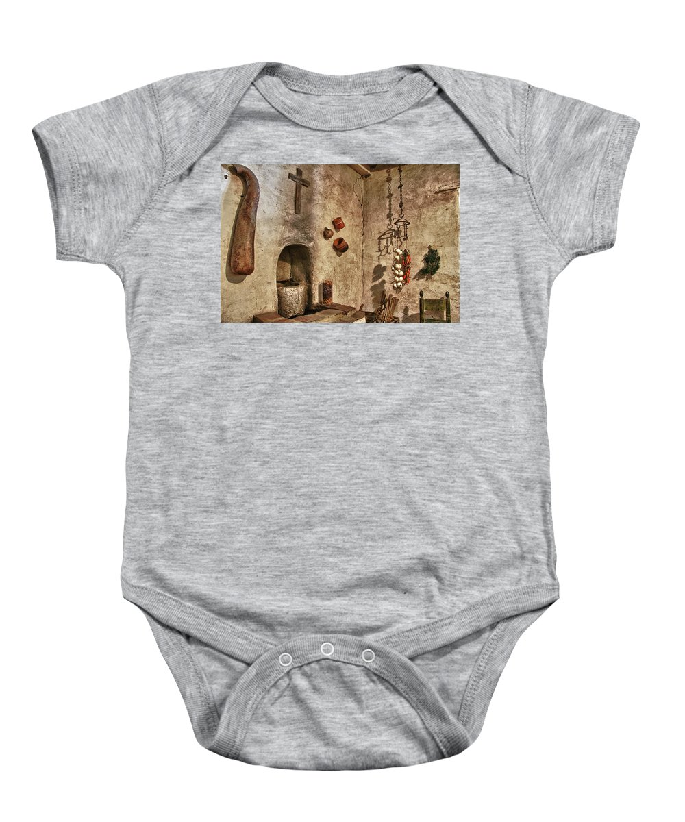 Carmel California Baby Onesie featuring the photograph Carmel Mission 2 by Ron White
