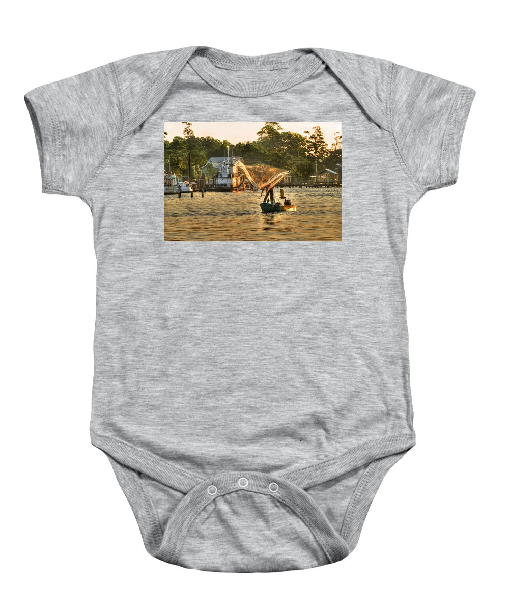 Palm Baby Onesie featuring the photograph Casting From Boat by Michael Thomas