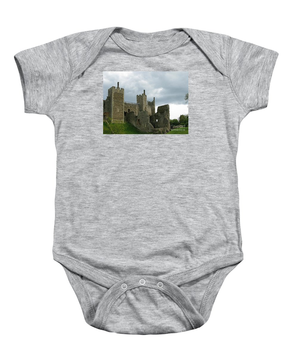 Castle Baby Onesie featuring the photograph Castle Curtain Wall by Ann Horn