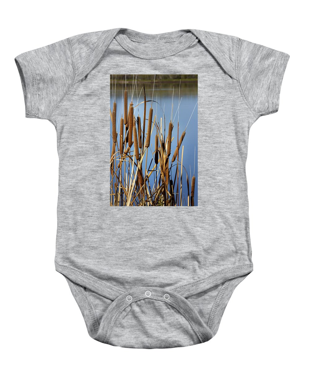 Cat Nine Tails Baby Onesie featuring the photograph Cat Nine Tails by Phyllis Denton
